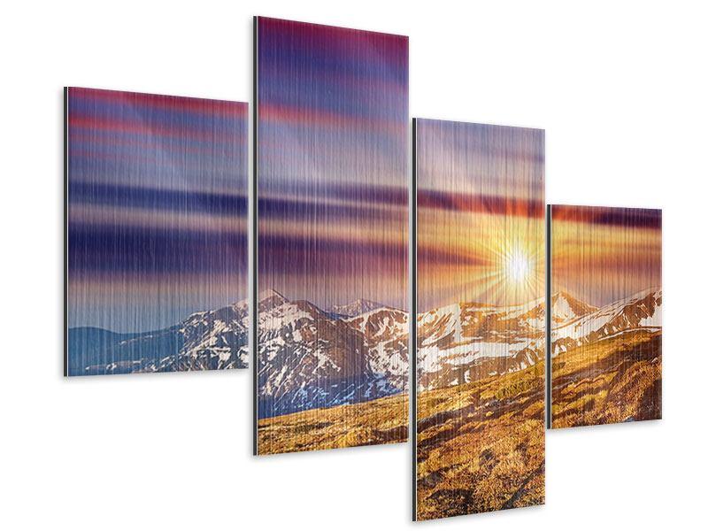 Metallic-Bild 4-teilig modern Majestätischer Sonnuntergang am Berggipfel