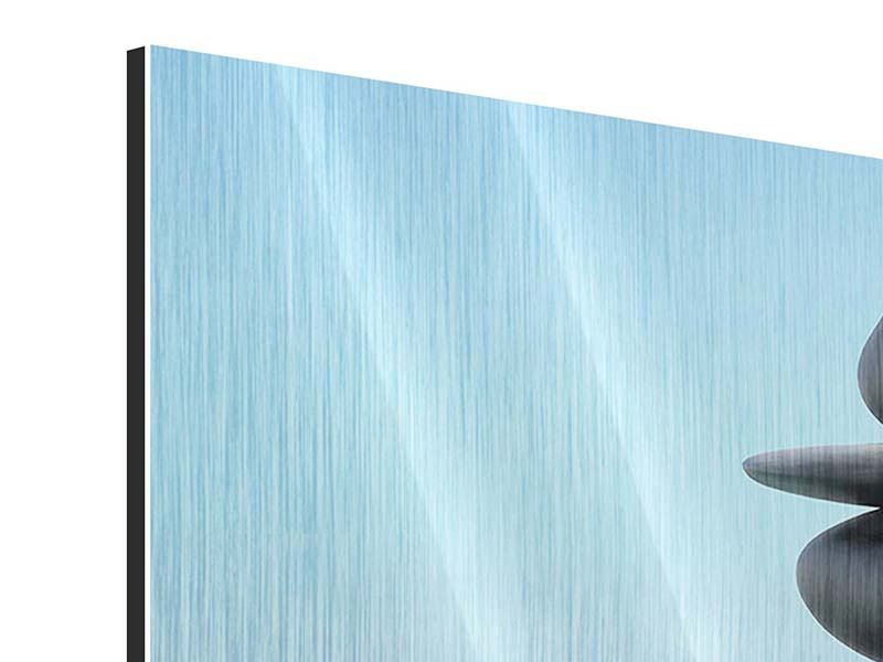 Metallic-Bild 4-teilig modern Zen Steine