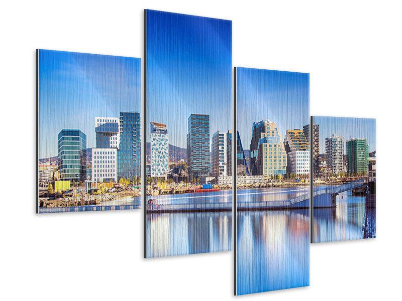 Metallic-Bild 4-teilig modern Skyline Oslo