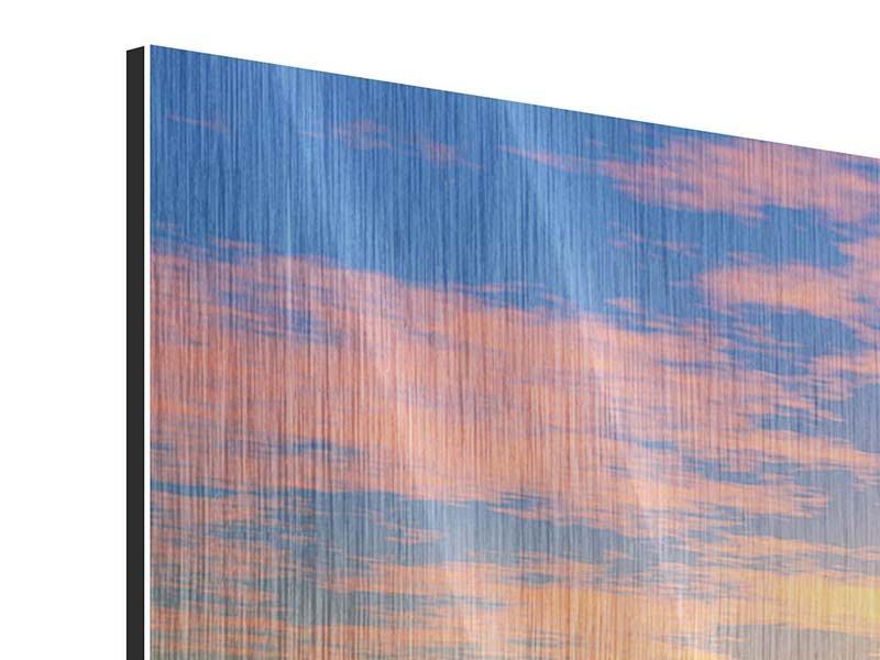 Metallic-Bild 4-teilig modern Blumenpanorama bei Sonnenuntergang
