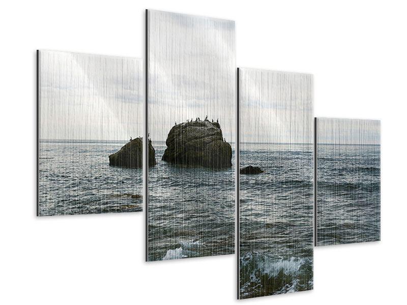 Metallic-Bild 4-teilig modern Leise Wellen