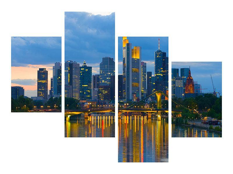 Metallic-Bild 4-teilig modern Skyline Frankfurt am Main
