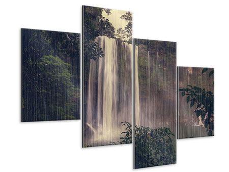 Metallic-Bild 4-teilig modern Wasserfall in Mexiko