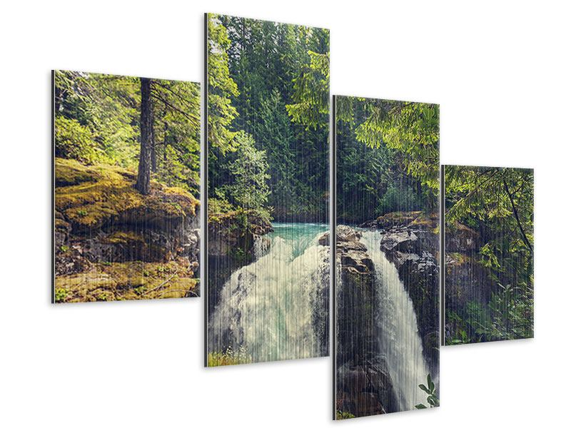 Metallic-Bild 4-teilig modern Flussströmung