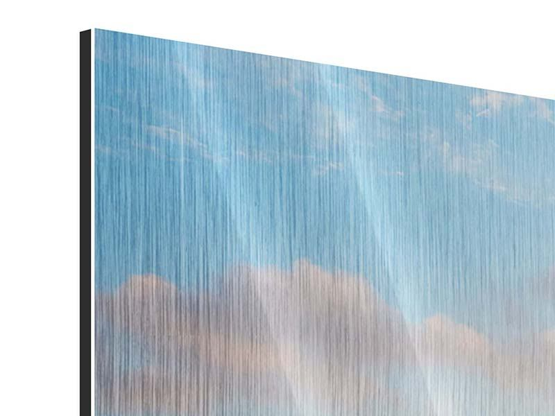 Metallic-Bild 4-teilig modern Das blühende Lavendelfeld