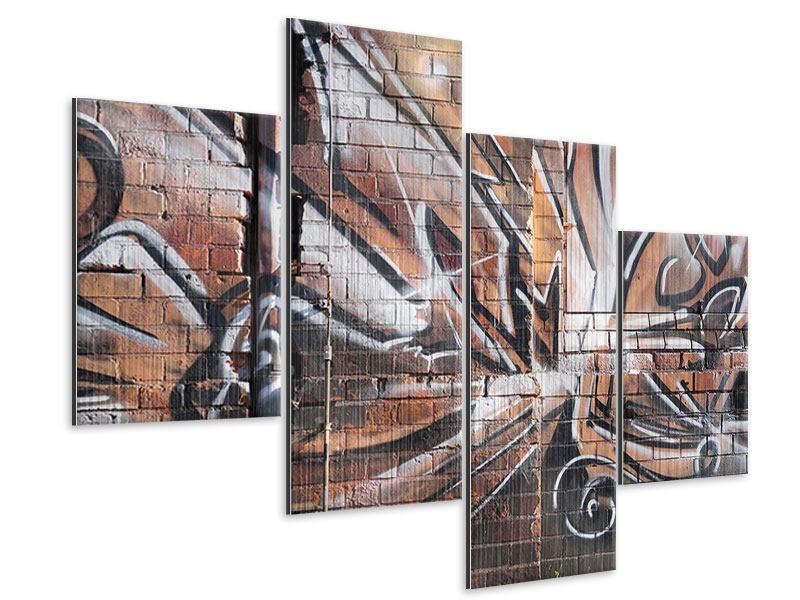 Metallic-Bild 4-teilig modern Graffiti Mauer