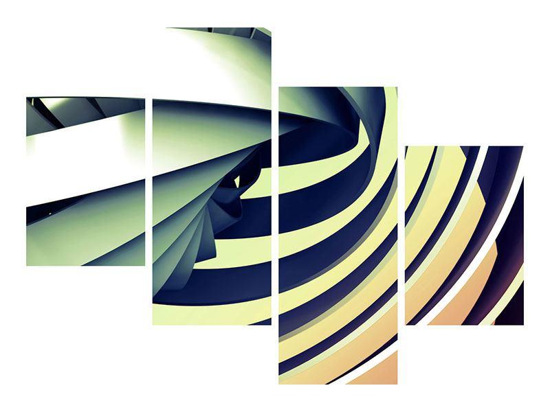 Metallic-Bild 4-teilig modern Abstrakte Perspektiven