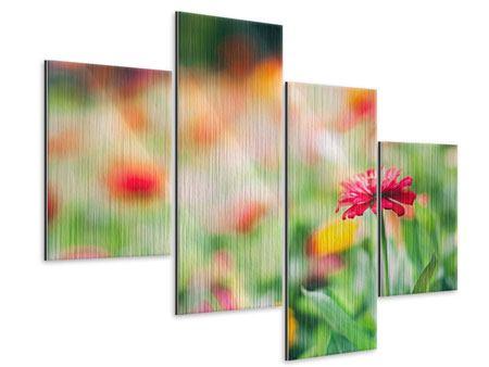 Metallic-Bild 4-teilig modern Im Blumengarten
