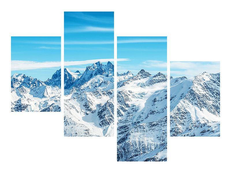 Metallic-Bild 4-teilig modern Alpenpanorama