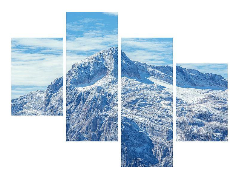 Metallic-Bild 4-teilig modern Friedliche Bergstimmung