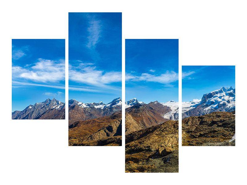 Metallic-Bild 4-teilig modern Schweizer Alpen im Frühling
