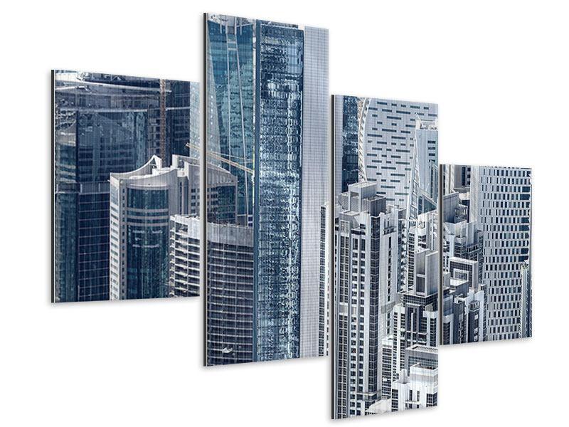 Metallic-Bild 4-teilig modern Die Wolkenkratzer von Dubai