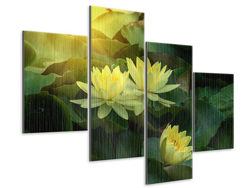 Metallic-Bild 4-teilig modern Wilde Lotus