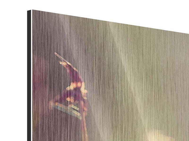 Metallic-Bild 4-teilig modern Blütenpracht