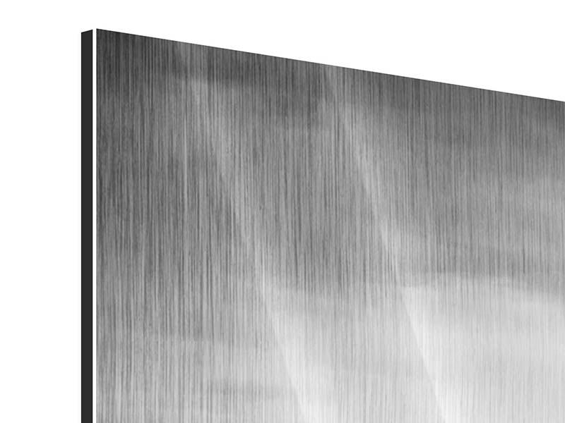 Metallic-Bild 4-teilig modern Skyline Schwarzweissfotografie New York