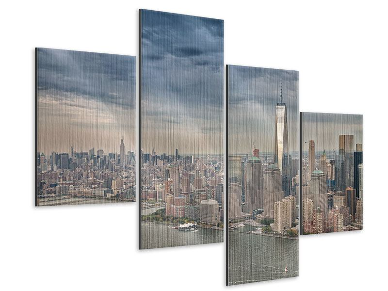 Metallic-Bild 4-teilig modern Skyline Manhattan