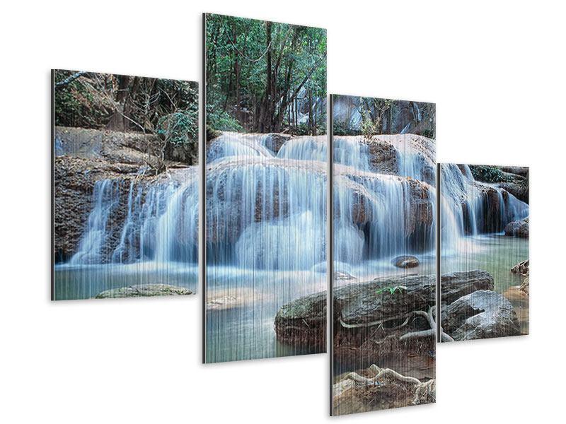 Metallic-Bild 4-teilig modern Ein Wasserfall