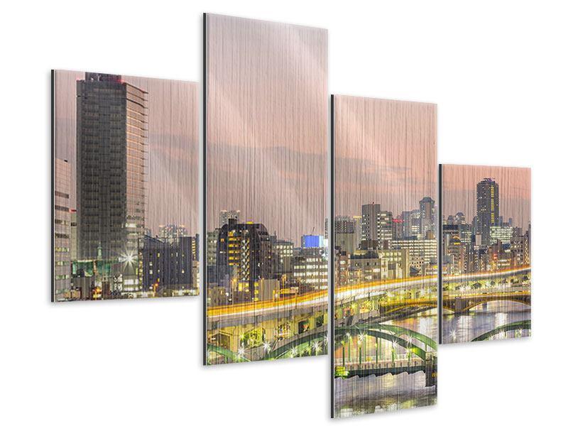 Metallic-Bild 4-teilig modern Skyline Das Lichtermeer von Tokio