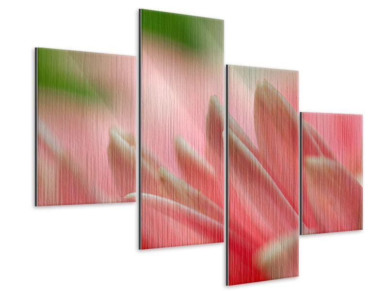Metallic-Bild 4-teilig modern Close Up einer Blüte