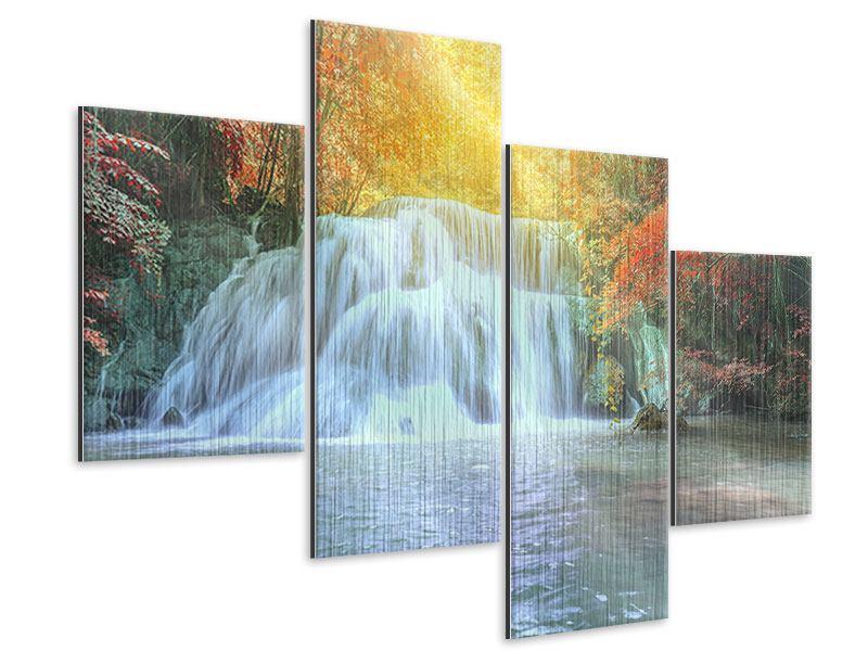 Metallic-Bild 4-teilig modern Wasserfall im Licht
