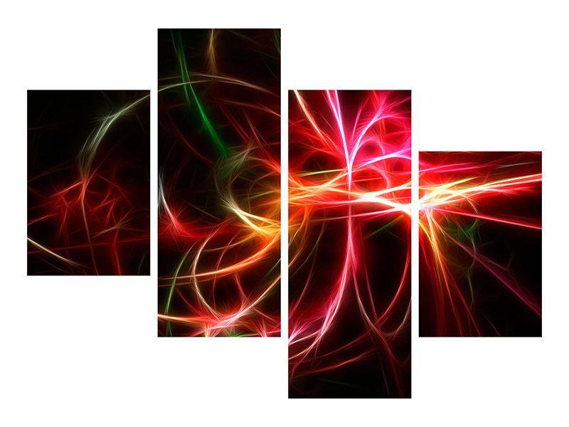 Metallic-Bild 4-teilig modern Fraktales Lichtspektakel
