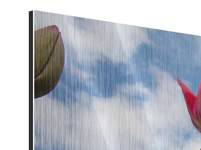 Metallic-Bild 4-teilig modern Tulpen im Himmel