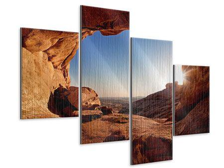 Metallic-Bild 4-teilig modern Sonnenuntergang vor der Höhle