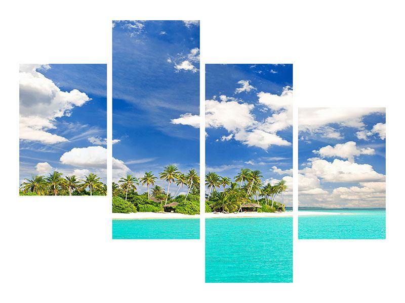 Metallic-Bild 4-teilig modern Meine Insel