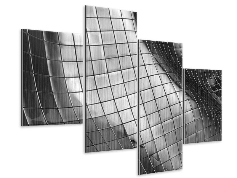 Metallic-Bild 4-teilig modern Abstrakter Stahl