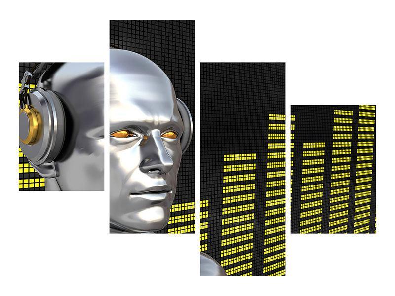 Metallic-Bild 4-teilig modern Futuristischer DJ