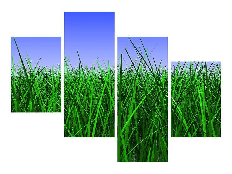 Metallic-Bild 4-teilig modern Im Gras