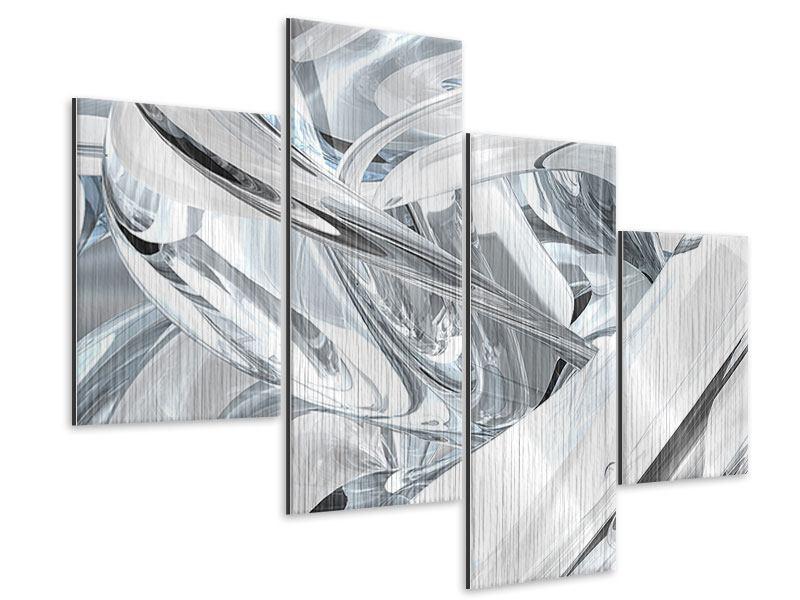 Metallic-Bild 4-teilig modern Abstrakte Glasbahnen