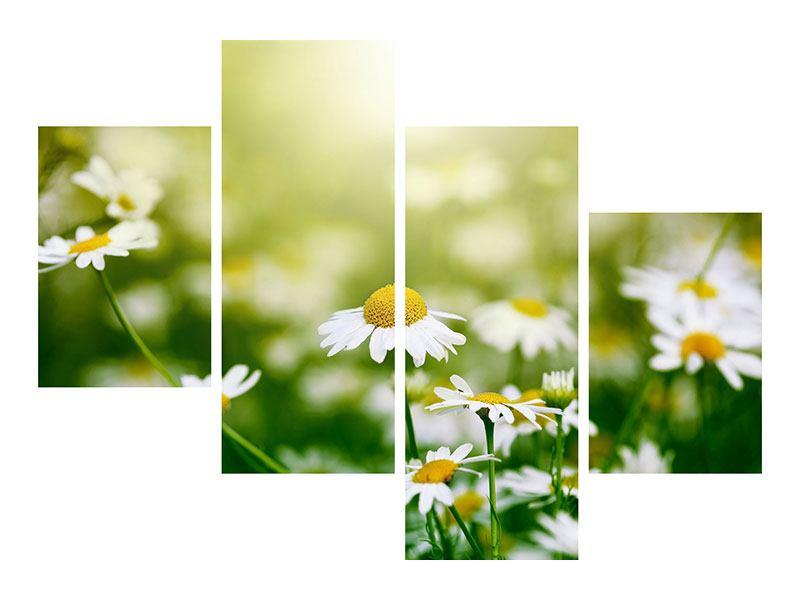 Metallic-Bild 4-teilig modern Die Gänseblümchen