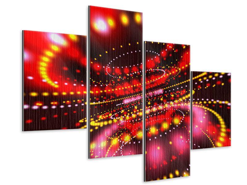 Metallic-Bild 4-teilig modern Abstraktes Lichtspiel