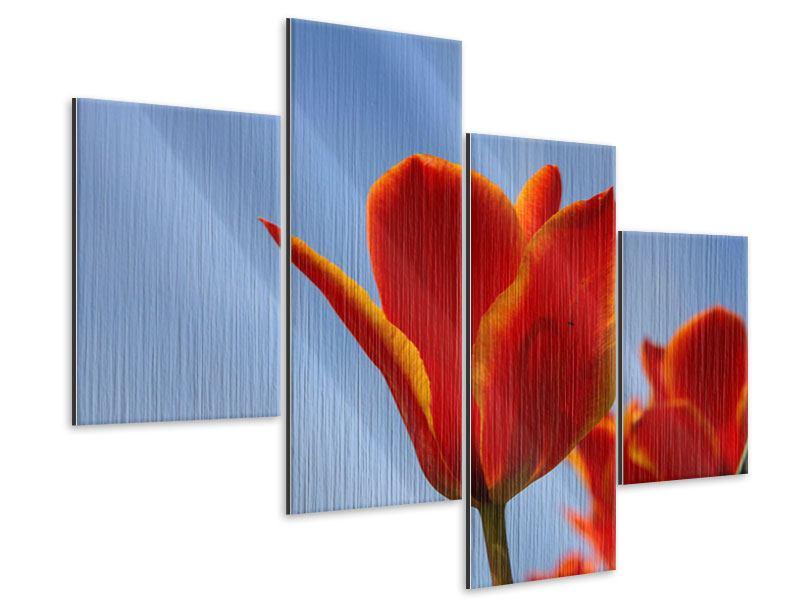 Metallic-Bild 4-teilig modern Rote Tulpen in XXL
