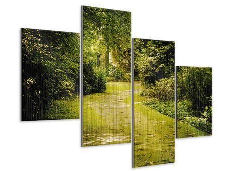 Metallic-Bild 4-teilig modern Der bemooste Weg