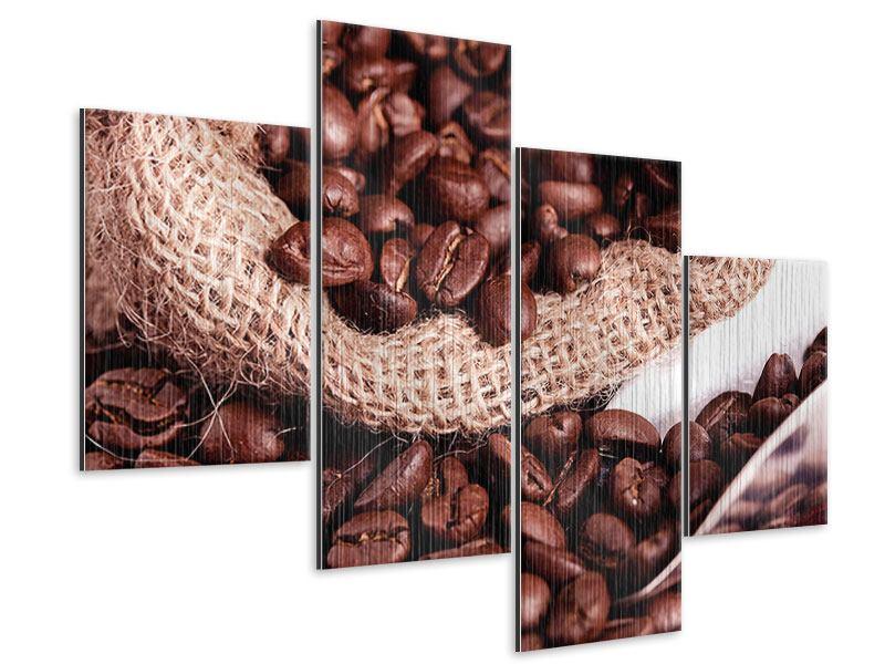 Metallic-Bild 4-teilig modern XXL Kaffeebohnen
