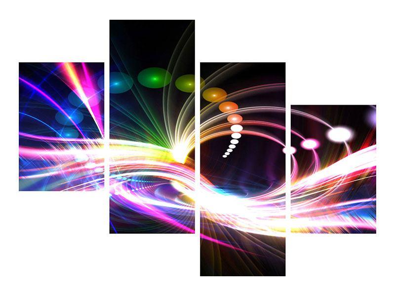 Metallic-Bild 4-teilig modern Abstrakte Lichtreflexe