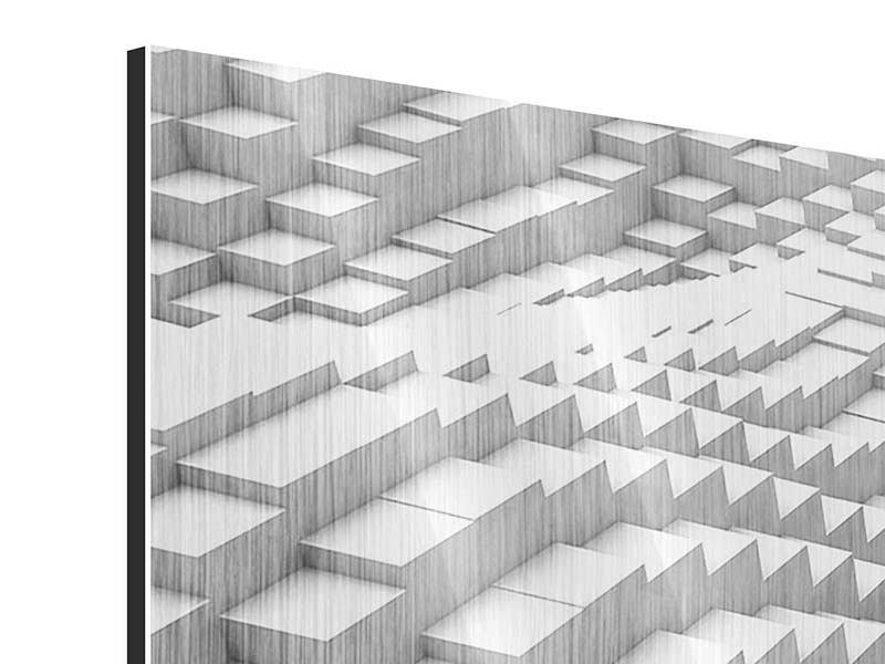 Metallic-Bild 4-teilig modern 3D-Elemente