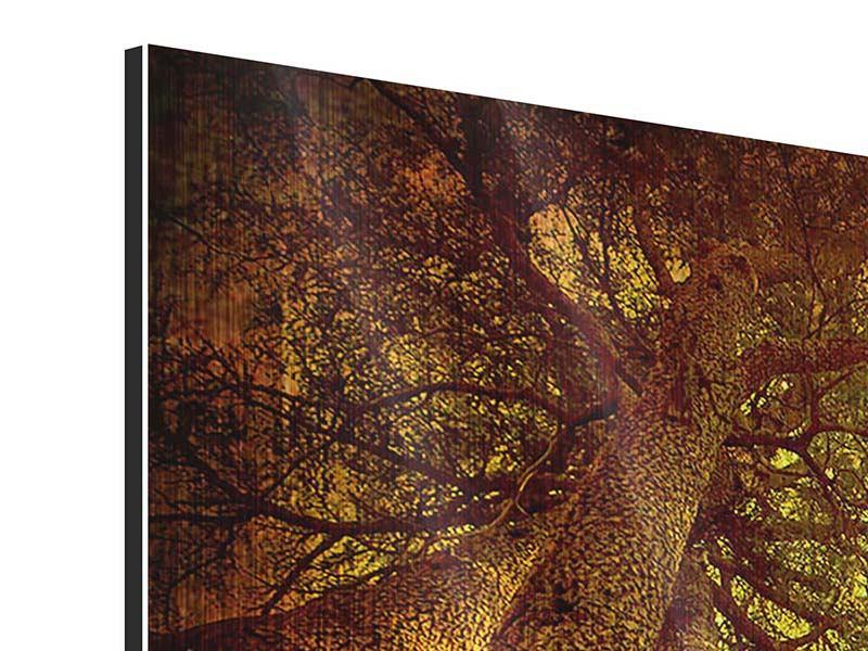 Metallic-Bild 4-teilig modern Cedar Baum
