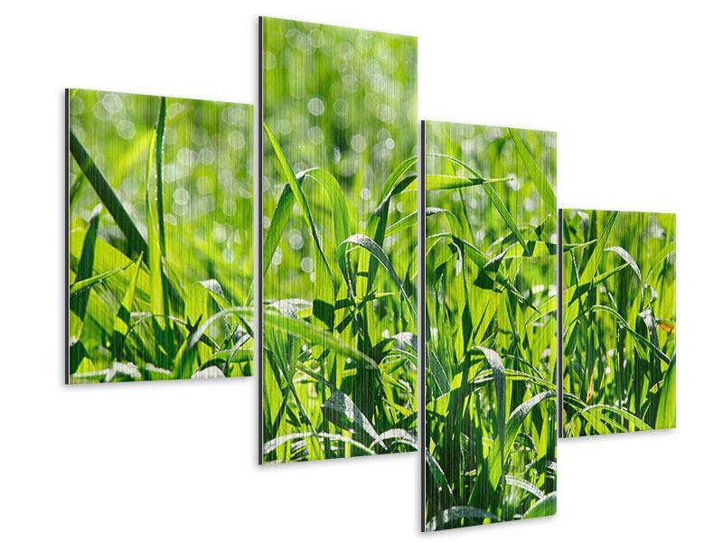 Metallic-Bild 4-teilig modern Sonniges Gras