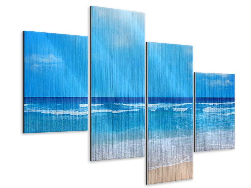 Metallic-Bild 4-teilig modern Sanfte Strandwellen