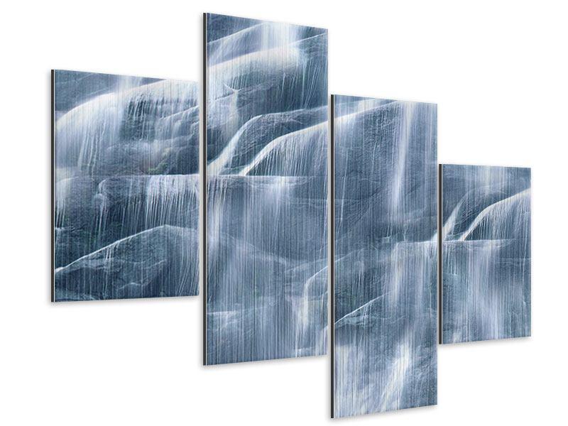 Metallic-Bild 4-teilig modern Grossartiger Wasserfall