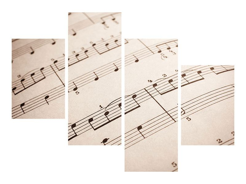 Metallic-Bild 4-teilig modern Das Notenblatt