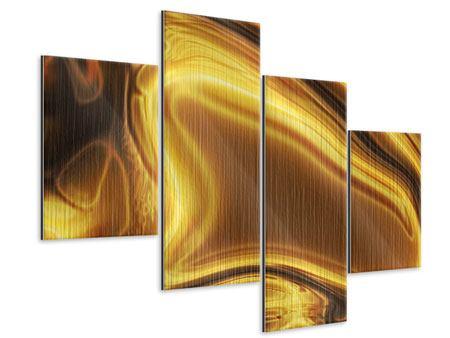 Metallic-Bild 4-teilig modern Abstrakt Flüssiges Gold