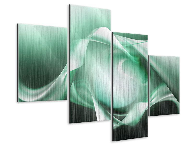 Metallic-Bild 4-teilig modern Abstrakt Tuchfühlung