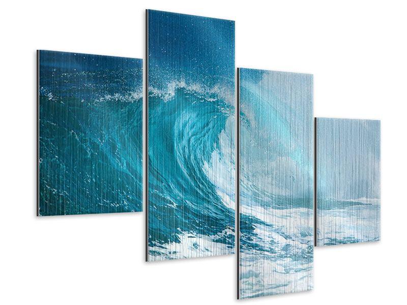 Metallic-Bild 4-teilig modern Die perfekte Welle