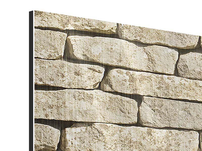 Metallic-Bild 4-teilig modern Alte Mauer