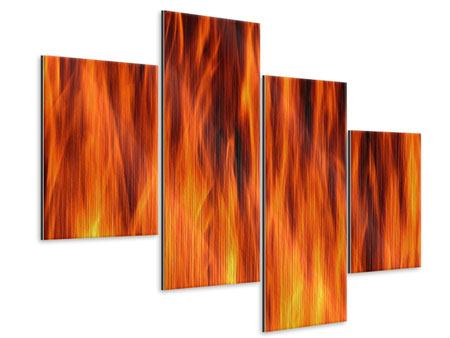 Metallic-Bild 4-teilig modern Feuer Close Up
