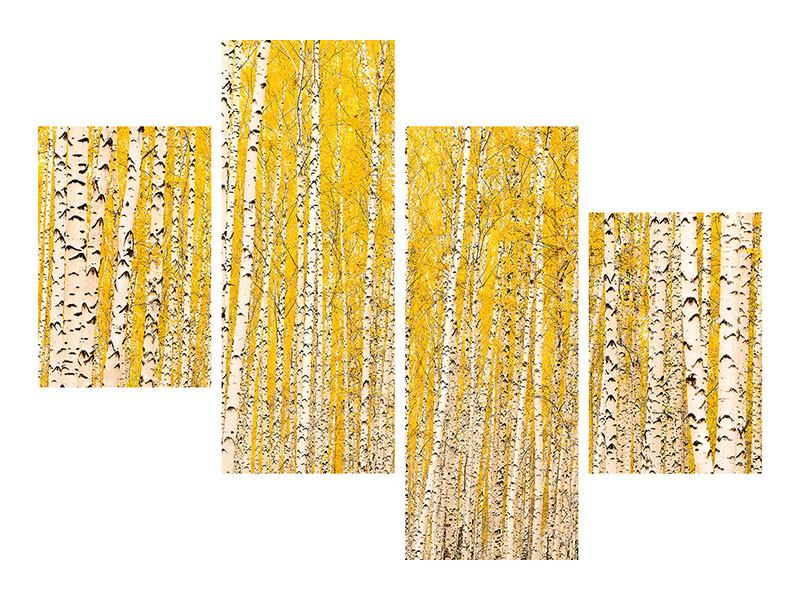 Metallic-Bild 4-teilig modern Der Birkenwald im Herbst